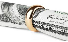 Money wrapped inside a golden ring.